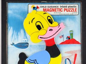 Vintage Magnetic Puzzle Duck 10 Piece Inlaid Toy Plastic Child Guidance 901