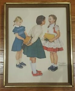 "Norman Rockwell The Missing Tooth Lithograph Canvas Framed Vintage Art 12""x15"""