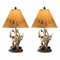 "18/"" Tall Rustic Single Antler Lamp With Deer Shade Wilcor"