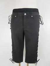 Jean Paul Gaultier jeans donna 3/4 Pantaloni Caprihose 28 nero Straight lacci