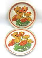 Vintage 2 Metal Serving Trays No.1653 Poppies Made By Shape Liverpool England