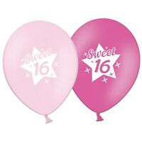 "Sweet 16  -   Star  12""  Pink Assorted Printed Latex Balloons pack of 5"