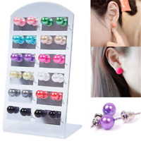 12 Pairs Lot Multicolor  Women Fashion Party Beauty Pearl Round Ear Stud Earring