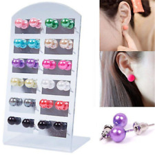 12 Pairs Multicolor  Women Fashion Party Beauty Pearl Round Ear Stud Earring Set