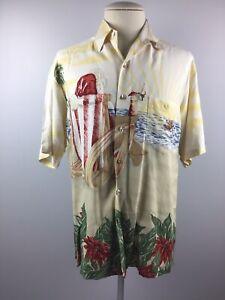 Tori Richards Hawaiian Made In Hawaii SIZE LARGE Men's Shirt Cotton XMAS THEME