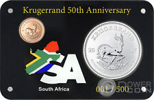 KRUGERRAND 50th Anniv Set 1 Oz Silver Coin 1 Rand Gold 0.1 South Africa 2017
