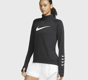 Nike Swoosh Half-Zip Running Top Womens Long Sleeve T-Shirts Size UK 8 *REF175