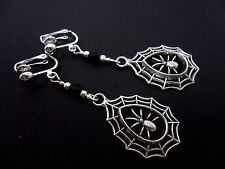 A PAIR OF SPIDER WEB  CRYSTAL GLASS BEAD TIBETAN SILVER  CLIP ON EARRINGS. NEW.