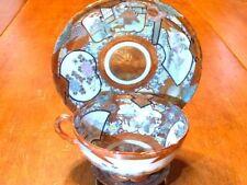 Antique HPTD Japanese Kutani Porcelain Tea Cup & Saucer