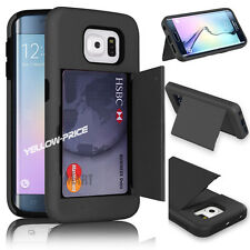 Armor Rugged Hard Bumper Case Card Holder Cover Stand for Samsung Galaxy S6 Edge