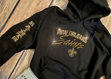 New Women's New Orleans Saints Hoodie Sweatshirt size Small Rhinestones Bling