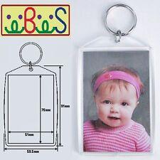 "1x Blank Clear Acrylic Keyring 76x51mm (3""x2"") Photo Size key ring plastic 99808"