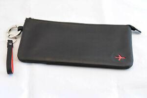 Echt- Leder Reisedokumenten- Flugticket- Tasche aussen Schwarz, innen Rot, NEU