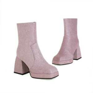 Women's Chelsea Platform Ankle Boots High Heel Square Toe Casual Shoes 41 42 43