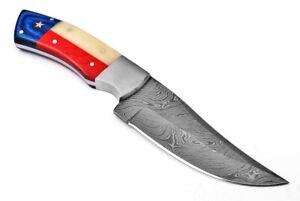 "9"" CUSTOM HANDMADE DAMASCUS STEEL TEXAS FLAG HUNTING KNIFE WALNUT WOOD; 5809o"