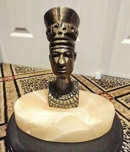 Antique Vintage NEFERTITI Bronze on Marble EGYPTIAN REVIVAL Paperweight Figure