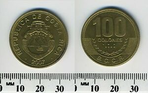 Costa Rica 100 Colones, 2007 - Brass Plated Steel Coin - National arms