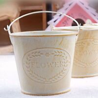 Flameer Shabby Chic Iron Flower Buckets Plants Planter Pot Bucket Flower Vase KC