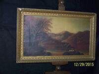 Antique Hudson River School c1800's Original Tonalist Landscape Painting