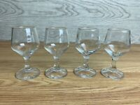 Set Of 4 Sherry Port Glasses Plain Clear Glass Facetted Stem