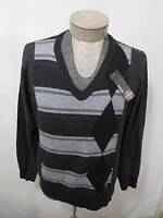 Murano Mens 100% Wool XL Sweater V-Neck Cable Knit Striped Diamond Gray Charcoal