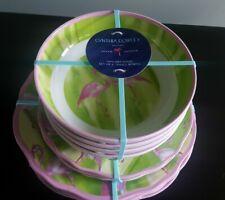 NEW Cynthia Rowley Flamingo Pink Green Melamine 12 pc Dinner Plate Bowl Set