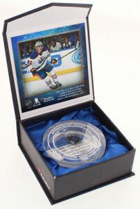 CONNOR MCDAVID OILERS NHL DEBUT CRYSTAL GAME USED ST LOUIS BLUES ICE HOCKEY PUCK