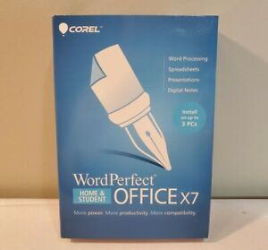 WordPerfect Office X7 Home and Student Install Up To 3 Pc's CD-Rom Pc - NEW