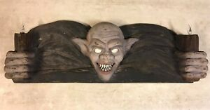 Halloween spooky vampire gremlin door topper prop w/ 2 flicker flame lights