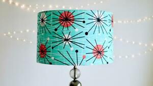 Atomic Retro Lampshade - Handmade Blue 50s Fifties Vintage Lamp shade 30cm 40cm