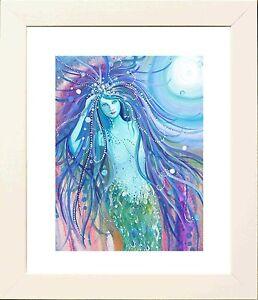 Mermaid Moon Picture in White Frame - Print from original by Keri Manning-Dedman