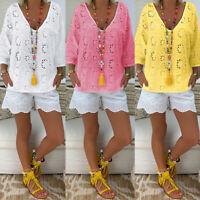 ZANZEA Womens Lace V Neck Loose Tops Summer Beach Ladies Shirts Blouse Size 8-24