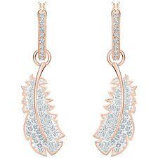 Swarovski 5497872 Naughty Hoop Drop Pierced Earrings RG Plated Size3cm