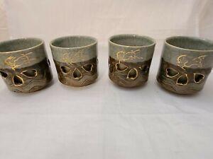4 Gold Horse Somayaki Double-Wall Soma Ware Crackle Glaze Mugs Vintage Japanese