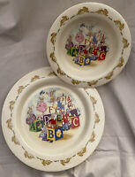 "Royal Doulton England ABC Blocks Pattern Bunnykins Plate and Bowl ""plastic"""