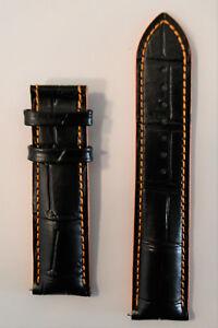 Original MIDO Multifort 22mm M005929A Black / Orange Leather Watch Band Strap