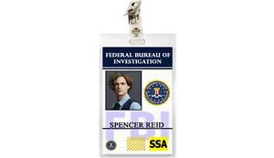 Criminal Minds TV Show FBI ID Badge Spencer Reid Cosplay Prop Costume