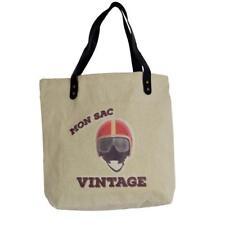 cabas sac shopping style vintage motif casque de moto et lunettes rétro tote bag