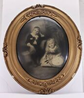 Vintage ornate oval wood / gesso picture frame with bubble glass Pickworth As Is