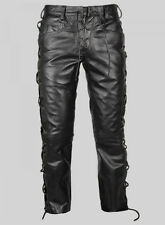 Men's Real Cowhide Leather Bikers Pants Laces Up Bikers Pants +FREE LEATHER BELT