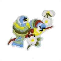 Birds on a Branch Patch — Iron On Badge Embroidered Motif — Cute Applique