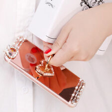 Mirror Bling Diamond LOVE/Peacock Metal Ring Holder Stand Case Cover For Phone