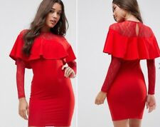 NWT ASOS Ruffle Front Lace Mix Bodycon Mini Dress Red Size 4