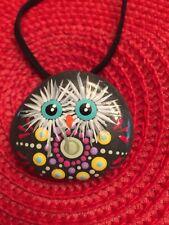 Mandala OWL hand painted rock pendant necklace suede cord Dot Art OOAK Original