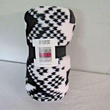 Victoria's Secret Pink Polyester (Fleece) Black/White/Pink Blanket Throw NWT