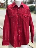 Vintage Ely Cattleman Pearl Snap Red Gold Stripe Western Cowboy Rodeo Shirt SZ L