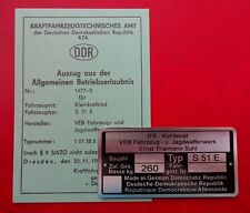 blanco DDR Betriebserlaubnis SIMSON S 51E KTa Nr 1477-5 ENDURO ABE & Typenschild