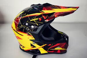 Nox Crosshelm Helm Helmet Bazooka Motocross Cross schwarz rot gelb GR S
