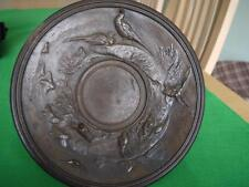 SUPERB ANTQUE BRONZED TAZZA TABLE CENTRE BOWL ON PLINTH PHEASANTS GAME BIRD