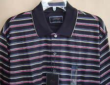 NWT $58 GREG NORMAN Mens M Polo Golf Shirt Cotton BLACK STRIPE Short Sleeve